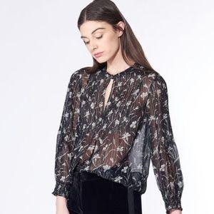 VERONICA BEARD Walker Sheer Silk Floral Blouse